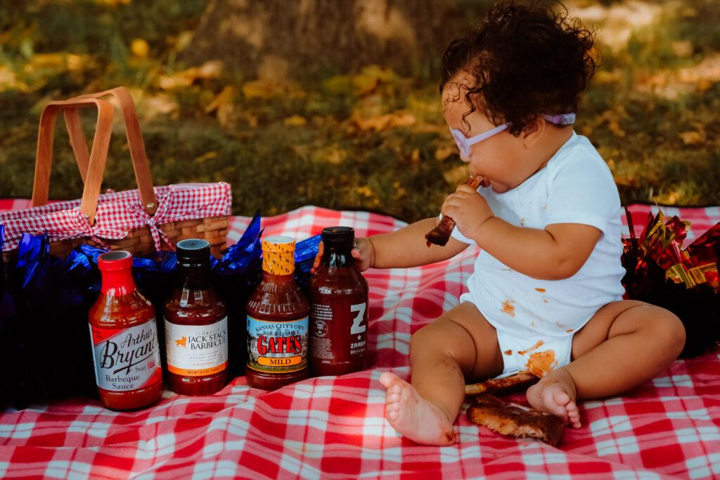 Themed birthday session featuring Kansas City's Top BBQ sauces.